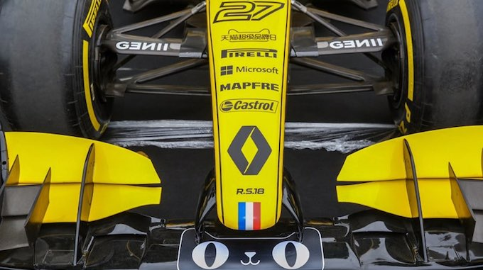 Renault racing car with Tmall cat logo