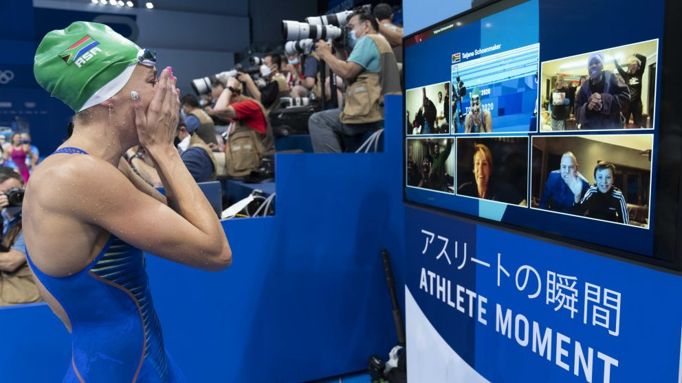 Swimmer speaks to her supporters during Olympic Games Tokyo 2020